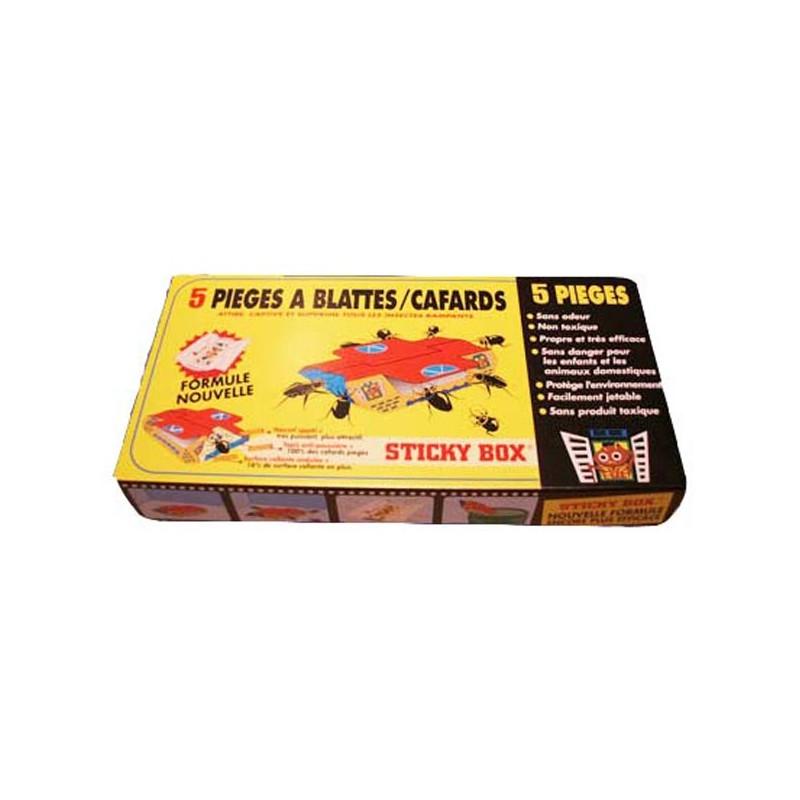 STICKY BOX : Pièges anti cafards anti blattes (1 boîte de 5 pièges)
